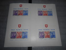 Switzerland 1936 - sheet Pro Patria as large sheet per 4 pieces - Michel block 2