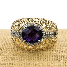 18 kt gold – Cocktail ring – Amethyst gemstone – Zirconia gemstones – Cocktail ring size: 21 (Spain).