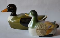 Pair of duck earthenware terrines, signed 1970, France