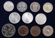 World - Lot of 11 coins (Australia, Germany, New Zealand) 1949/1985 - Including x5 Silver