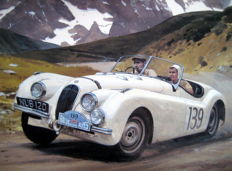 """Alpine Trial"" - Jaguar XK120 Alpine Rally 1950 -Art Print -  Artist : Graham Turner"