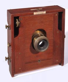 Antique English wooden camera for plates 5x6.5 Zoll!