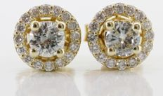 Yellow gold Day & Night earrings set with brilliant cut diamonds, 0.72 ct in total *** No reserveprijs ***