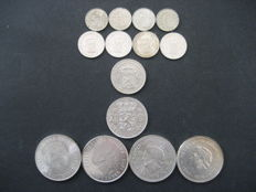 The Netherlands – 25 cents through 10 guilder coins 1929/1973 Wilhelmina and Juliana (14 pieces) – silver