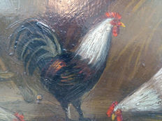 A. Verwell - signed - Chickens Before the Stable