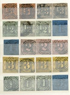Thurn and Taxis – 1852-1858 – stock book with over 130 exhibits from Michel 1 with no. 18, 19, 24, 25 and 46
