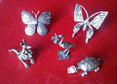 Five miniature Silver 800 marked collectibles