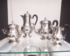 Quadripartite silver service, coffee, tea, creamer and sugar bowl solid silver, Delheid, Brussels, Belgium, first half 20th century