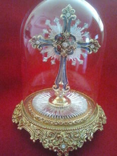 "Franklin mint ""star of hope jewelled cross"" with bell jar"