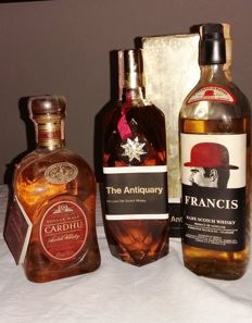 3 bottles - Cardhu 12, The Antiquary De Luxe Old Scotch Whisky, Francis Rare Scotch Whisky Red Bowler