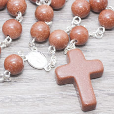 Sterling silver 925/1000, Rosary made of Sun stone, HAND MADE, Length 65 cm
