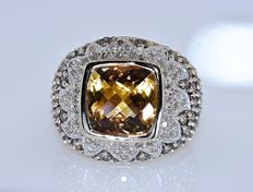 6.37 Ct Citrine and Diamonds, fancy ring - No reserve price!