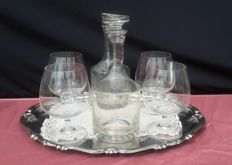 Lot of 4 Brandy glasses and 2 bottles of Brandy - Italy - second half of the 20th century.