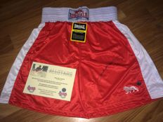 Sugar Ray Leonard - Signed Boxing Shorts + COA inc Photoproof.