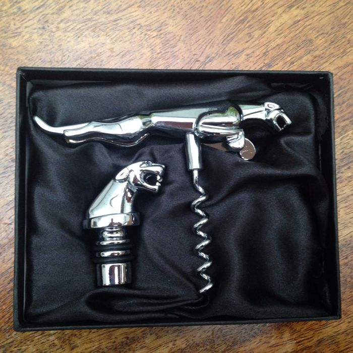 Original Jaguar wine set; corkscrew and bottle stopper