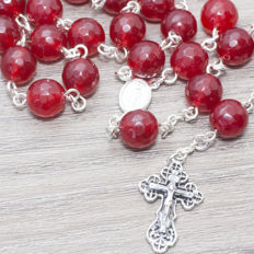 Sterling silver 925/1000 Rosary made of Faceted Ruby beads - HAND MADE - Length 65 cm