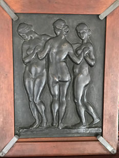 Ferenc Medgyessy (1881-,1958) - Three Graces - Signed Bronze Relief