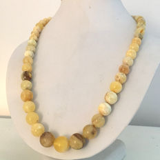 Baltic Amber, 100% natural ball beads, egg yolk, white colour, 39.2 grams