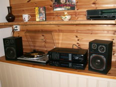 Beautiful hi-fi set: Sansui amplifier A-700 and tuner T-700, turntable Sanyo TP 20 and speakers Uher LS-75