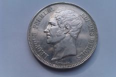 Belgium – 5 franc 1850, variant with point above year – Silver