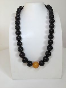 Baltic Amber, modified ball beads, egg yolk and dark cherry, 81.4 grams , yellow ball 18 mm and cherry balls 16 mm in diameter