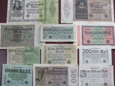 Original lot of 64 banknotes, banknotes from the interwar period World War I and II with extreme millions and billions values, various old banknotes from the German Reich