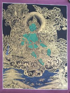 Thangka painting, Green Tara - Tibet/Nepal - late 20th century