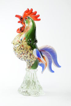 "Pitau (Pitau brothers glassworks) - ""Rooster"" sculpture"