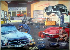 Nostalgic print - A Workshop in the late 1960s - Mercedes-Benz 190 SL / Mercedes-Benz 220S / Volkswagen Beetle / Opel GT