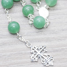 Sterling silver 925/1000, Rosary made of Green Jade beads, length 65 cm