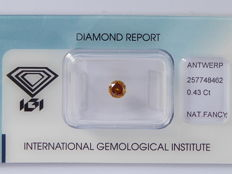 Natural fancy Deep Orange  diamond 0.43 ct  with IGI certificate