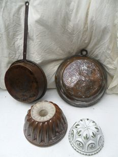 Lot of 4 items including copper and ceramics.