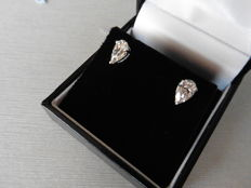 18k Gold Pear Diamond Solitaire Earrings - 1.00 ct
