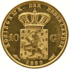 The Netherlands – 10 guilder coin 1889 - Willem III – gold.