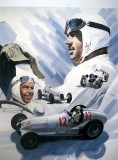 "Giclee Art Print  - ""Rudolph Caracciola"" Driver for Mercedes-Benz Silver Arrows"