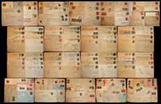 Italy – lot of 145 postages on letters, envelopes, documents, slips and postcards – Kingdom, RSI, Lieutenancy, Republic – high catalogue value