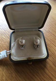 Women's earrings in 18 kt white gold with pearl and diamonds.