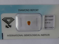 Natural fancy INTENSE Yellowish Orange  diamond 0.35ct  with IGI certificate