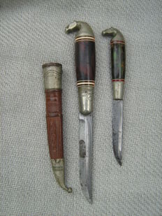 Two Puukko Horse Head hunting knives - Finland