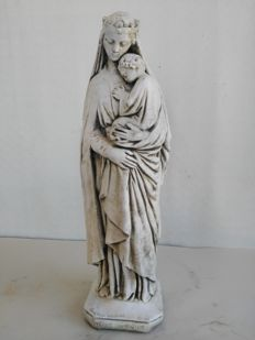 Madonna and child in marble and white cement powder - circa 1940