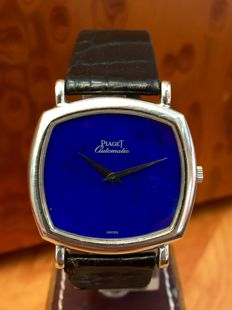 Piaget Lapis Lázuli dial. 18 kt white gold. Men's watch. Automatic. 1990s.