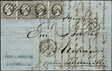 Luxembourg - William Mi 1 10 cents. Strip of 4. 1 watermarked inverted on a letter to Uckange - with certificate.