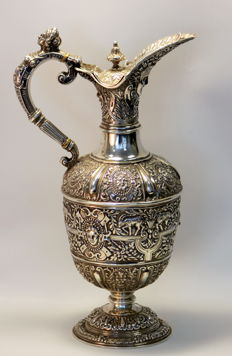 A Victorian silver Cellini style claret jug with mark of Stephen Smith, London - 1882