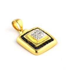 10 Diamonds (0.10ct H/VSSI) & 24 Sapphires Set on 18K Yellow Gold Pendant - Size 22 x 13mm