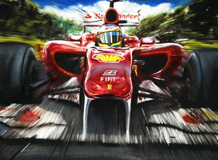 fernando alonso ferrari f10 f1 car formula 1 art print poster hand signed by artist andrea. Black Bedroom Furniture Sets. Home Design Ideas