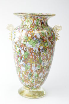 Amedeo Rossetto (Eugenio Ferro & Co.) - Vase with murrine and gold leaf