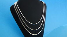 Triple row snake link necklace, 38 cm