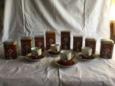 Droste collection - 4 cups and saucers and 2 large and 6 small canisters