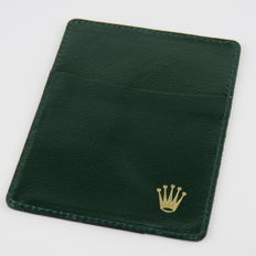 Rolex Green Leather Cards And Cash Holder