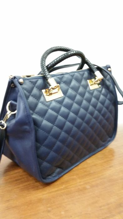 Bag made in Italy, made from artisanal Italian leather, made from topstitch  blue leather 55c1da1e24